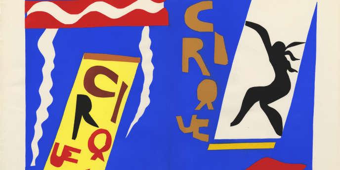 Henri MATISSE, Jazz, Paris, Tériade éditeur, 1947 Le Cirque, planche II 42 x 32,5 cm Collection Villa Arson, Nice, Don Henri Matisse à l'Ecole des Arts décoratifs de Nice en avril 1950 © Succession H. Matisse