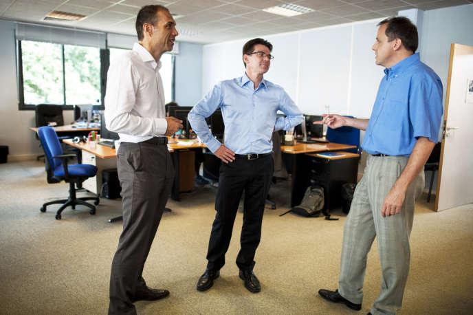 Benoît Gourdon, Stéphane Dehoche et Thomas Boudalier, dans les locaux de Neolane, le 17 juillet. Stéphane Dietrich, le quatrième cofondateur de l'entreprise, est, lui, à Boston.