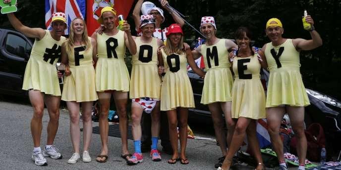 Des supporters de Chris Froome, le 18 juillet à l'Alpe d'Huez.
