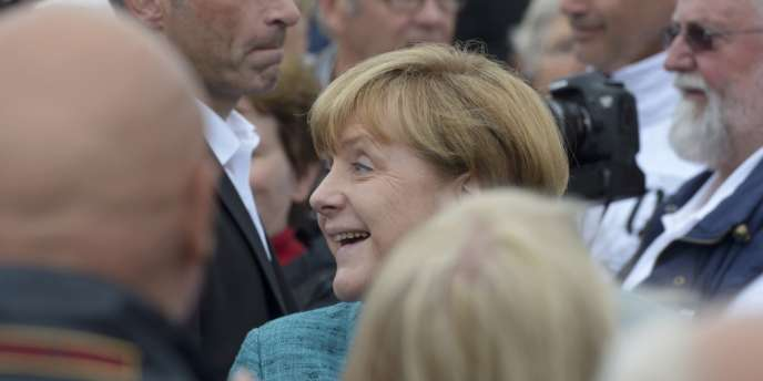 La chancelière Angela Merkel en campagne dans le Nord de l'Allemagne le 19 juillet.
