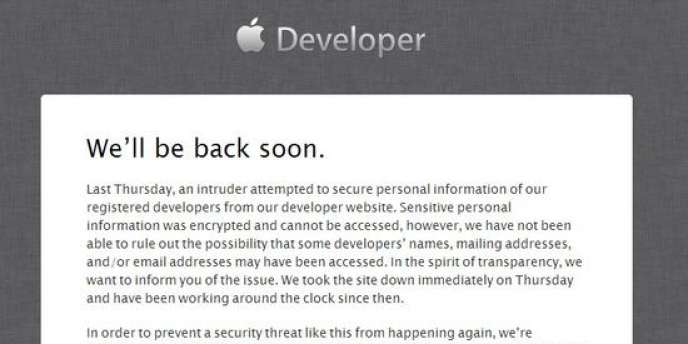 Le site d'Apple destiné aux programmeurs d'applications piraté