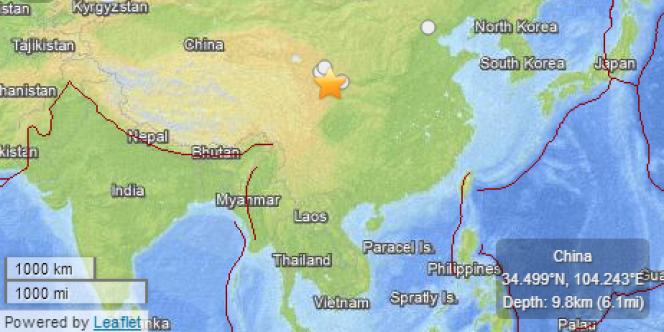 Capture écran du site de l'USGS pour le séisme en Chine, lundi 22 juillet.