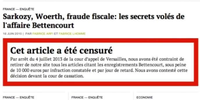 Le dossier Bettencourt du site Mediapart après le retrait des citations d'enregistrements audio de la milliardaire, lundi 22 juillet.