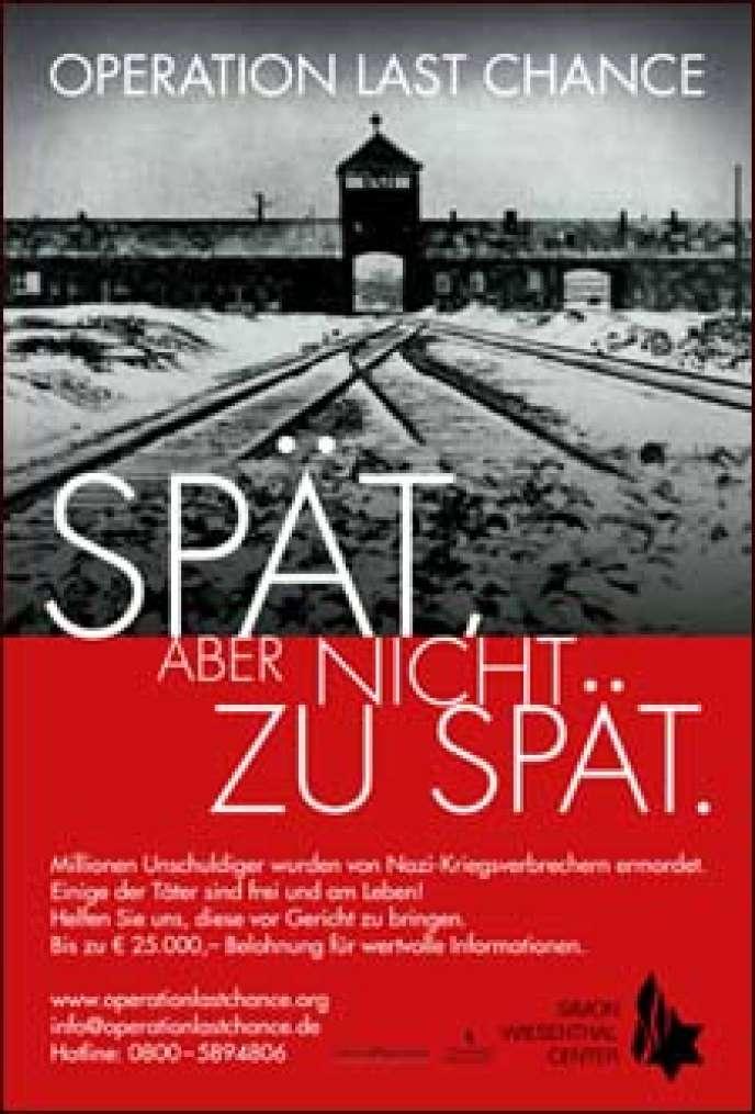 L'affiche de la campagne lancée par le Centre Simon-Wiesenthal.
