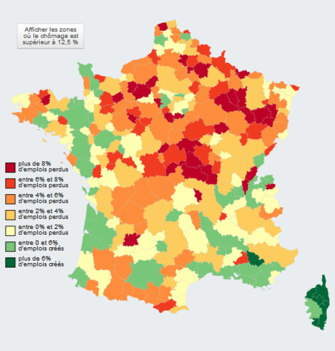 La carte de France des pertes d'emplois