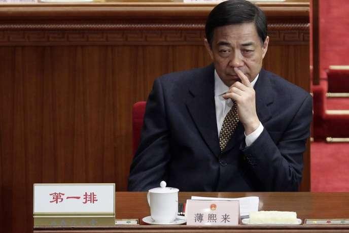 Bo Xilai, ancien secrétaire du PCC à Chongqing, le 2 mars 2012, lors d'une session du Congrès national, à Pékin.