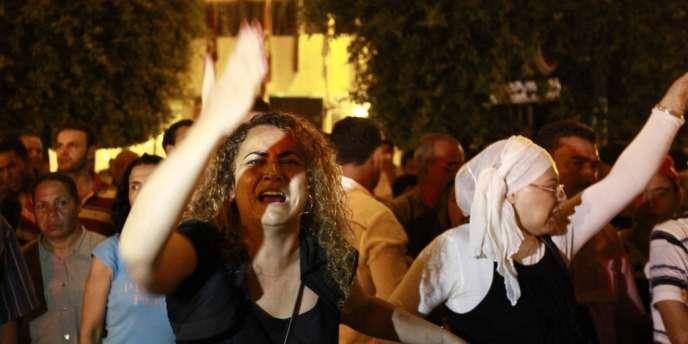 Vendredi soir 26 juillet à Tunis, après l'assassinat de Mohamed Brahmi.