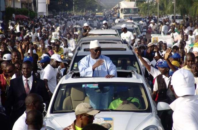 Le candidat à la présidentielle Ibrahim Boubacar Keïta, lors d'un meeting à Bamako, le 26 juillet, dernière journée de la campagne.