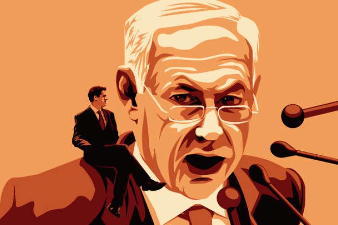 Ron Dermer, nommé ambassadeur à Washington, devant le portrait du premier ministre israélien Benyamin Nétanyahou.