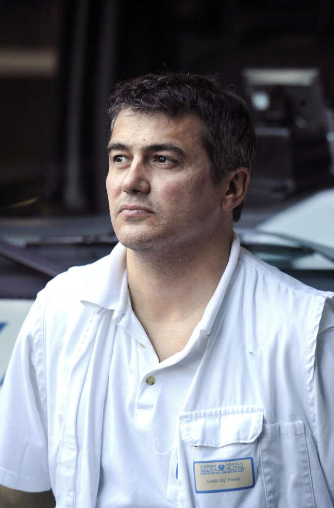 Le président de l'Association des médecins urgentistes de France (Amuf) Patrick Pelloux, récemment muté au Samu de Paris, le 09 octobre 2008, à l'hôpital Necker à Paris. Syndicaliste passionné et ardent défenseur de l'hôpital public.