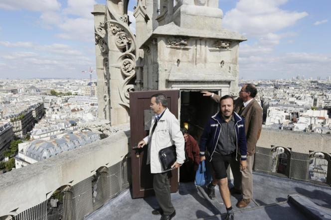 La tour Saint-Jacques, le seul vestige de l'église Saint-Jacques-de-la-Boucherie. Ici, lors d'une visite exceptionnelle pendant les journées du patrimoine en septembre 2012.
