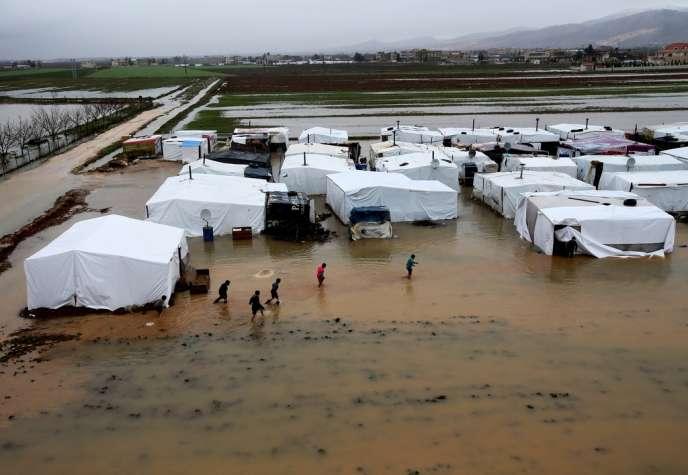 Un camp de réfugiés syriens situé dans l'est du Liban, en janvier 2013.
