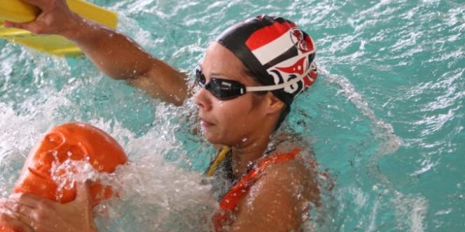 La Française Justine Weyders, médaille d'or aux Jeux mondiaux de Cali au 100 m mannequin palme.