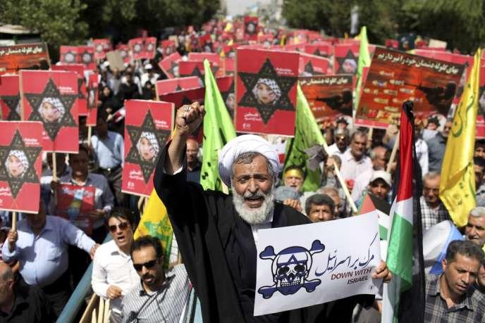 Manifestation anti-israélienne à Téhéran, le 2 août, à l'occasion de la Journée de Qods, en solidarité avec les Palestiniens, le dernier vendredi du mois de ramadan.
