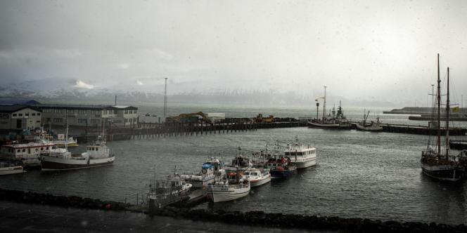 Le port de la ville d'Husavik au nord de l'Islande.