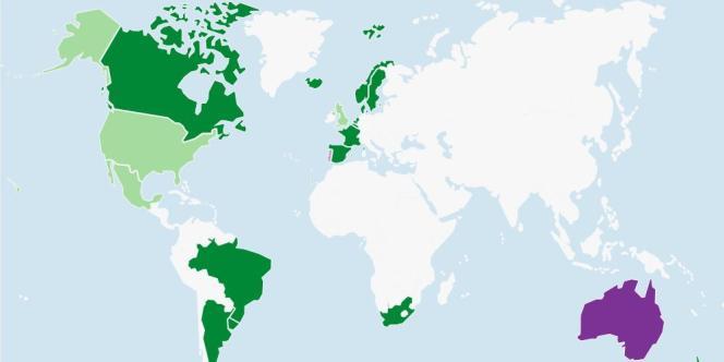 La carte du mariage homosexuel dans le monde.