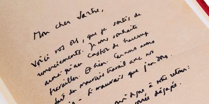 La lettre de Camus à Sartre sera présentée dans le cadre de l'exposition