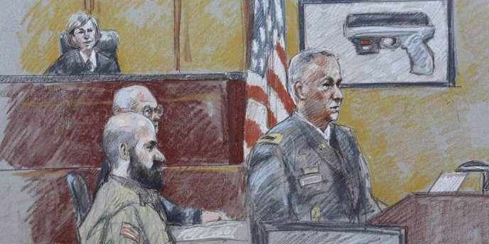 Croquis de l'audience du procès de Nidal Hasan, le 6 août.