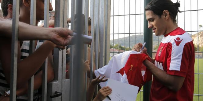 L'attaquant colombien Falcao au centre d'entraînement de l'AS Monaco, à la Turbie (Alpes-Maritimes).