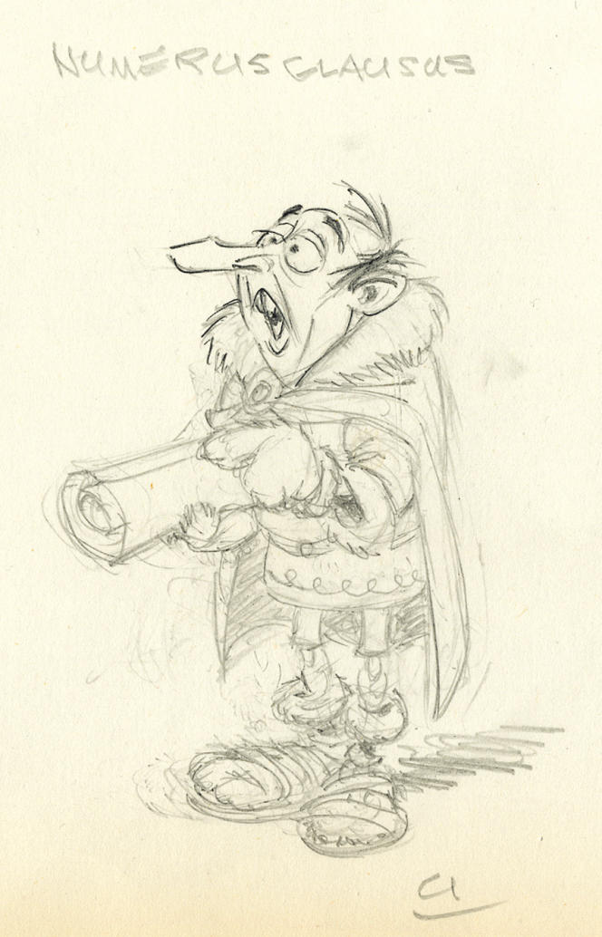 Albert Uderzo a réalisé ensuite une étude au crayon du personnage Numerusclausus.