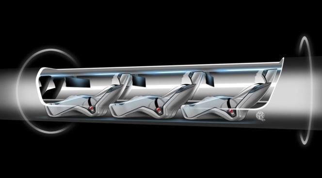 Vue d'artiste de la cabine de l'Hyperloop, imaginé par Elon Musk pour relier Los Angeles à San Francisco en une demi-heure. Elon Musk est l'un de ces personnages emblématiques de la Silicon Valley et du génie américain.