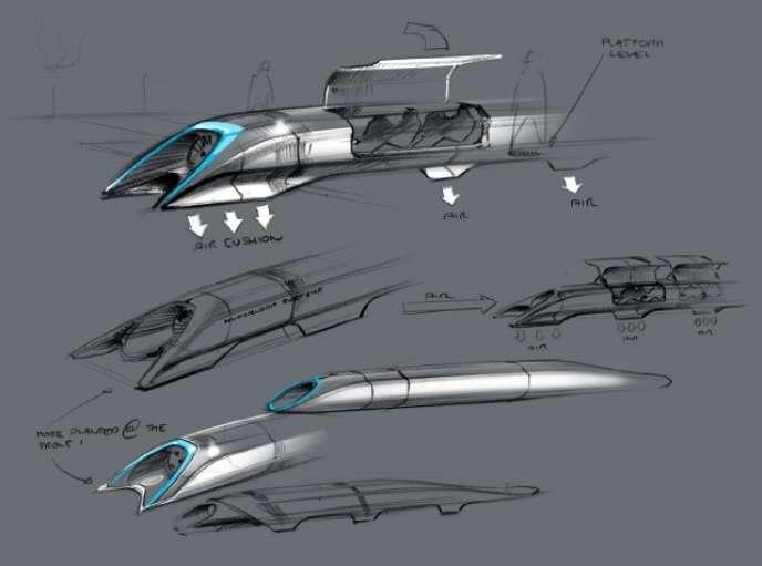 Première esquisse du projet Hyperloop d'Elon Musk.