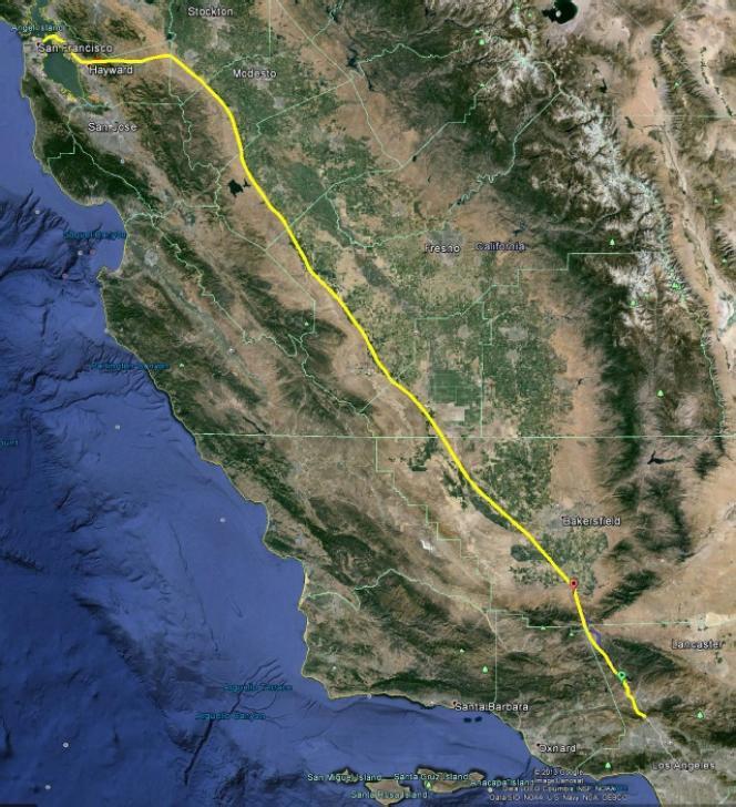 Le trajet San Francisco-Los Angeles de l'Hyperloop.