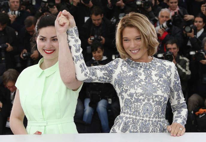 La réalisatrice Rebecca Zlotowski et l'actrice Léa Seydoux lors de la présentation du film