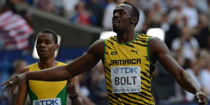 Usain Bolt (à droite) et Warren Weir, le 17 août à Moscou.