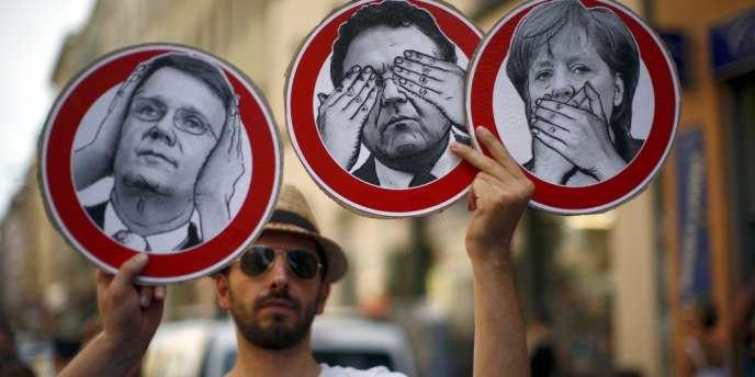 Manifestation à Berlin contre le programme de cybersurveillance Prism, le 27 juillet 2013.