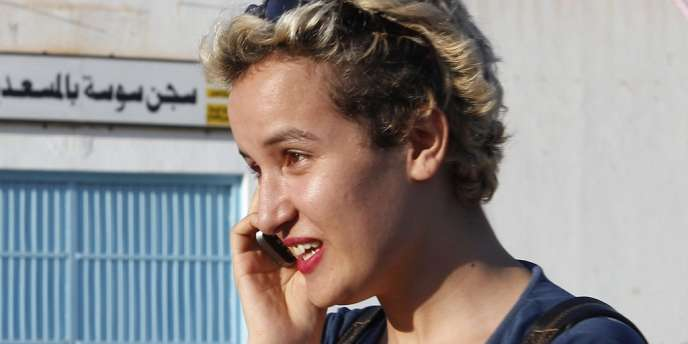 Amina Sbouï, lors de sa libération le 1er août.