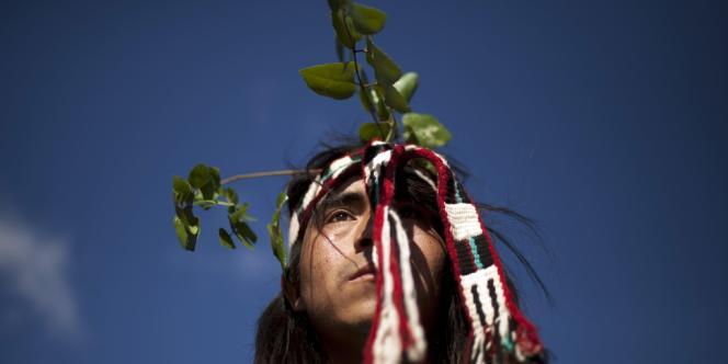 Un Indien mapuche lors d'une cérémonie rituelle à Ercilla, au Chili.