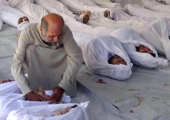 Des victimes de l'attaque de mercredi matin dans les faubourgs de Damas.
