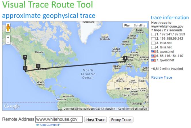 Représentation géographique schématique d'une connexion au site de la Maison Blanche depuis Paris, avec l'outil Visual Trace Route.