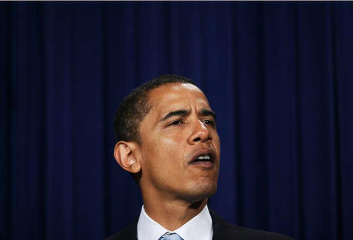 Barack Obama en janvier 2007, au cours d'un conférence de presse