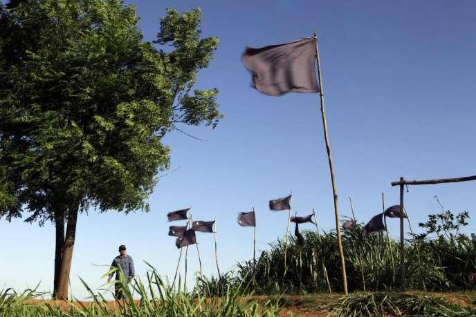 Près de Curuguaty, des drapeaux noirs symbolisent le massacre de 14 paysans, le 15 juin 2012, résultant d'affrontements avec la police.