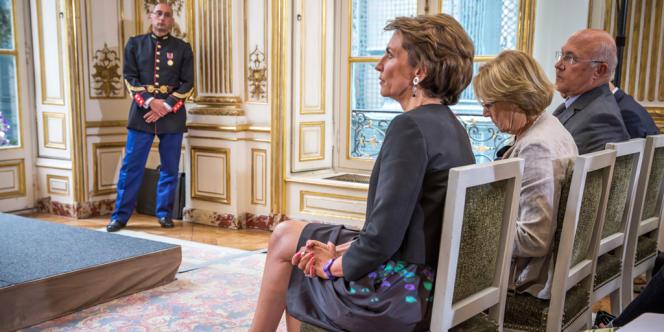 Marisol Touraine, Maylise Lebranchu et Michel Sapin assistent à l'annonce des détails de la réforme des retraites par Jean-Marc Ayrault à l'hôtel Matignon, le 27 août.