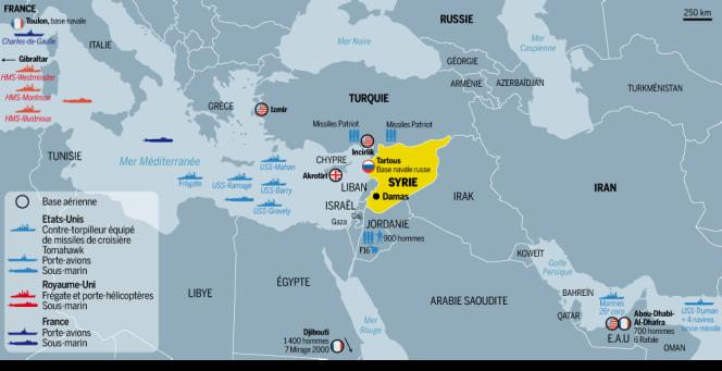 La présence militaire occidentale au large de la Syrie.