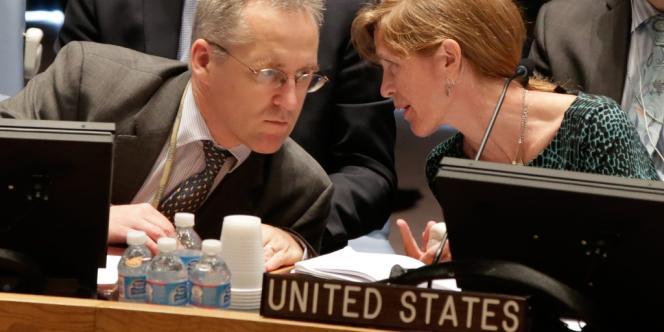 Les ambassadeurs britannique et américain à l'ONU, jeudi 29 août.
