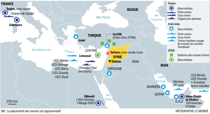 Les forces françaises et américaines disposées autour de la Syrie.