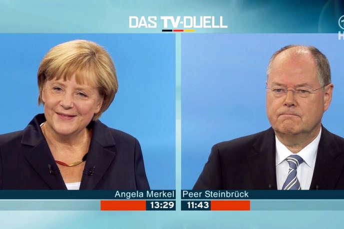 Duel télévisé entre la chancelière Angela Merkel (CDU) et son adversaire Peer Steinbrück (SPD), dimanche 1er septembre 2013.