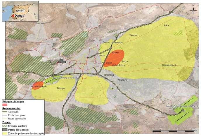 Carte de l'attaque chimique du 21 août à Damas, établie par les services de renseignement français.