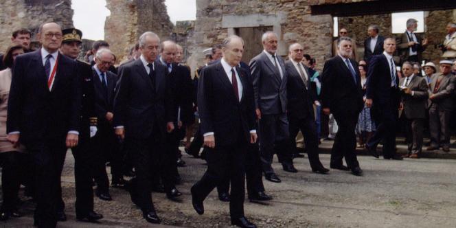 François Mitterrand lors de la commémoration du massacre d'Oradour-sur-Glane (Haute-Vienne), le 10 juin 1994.