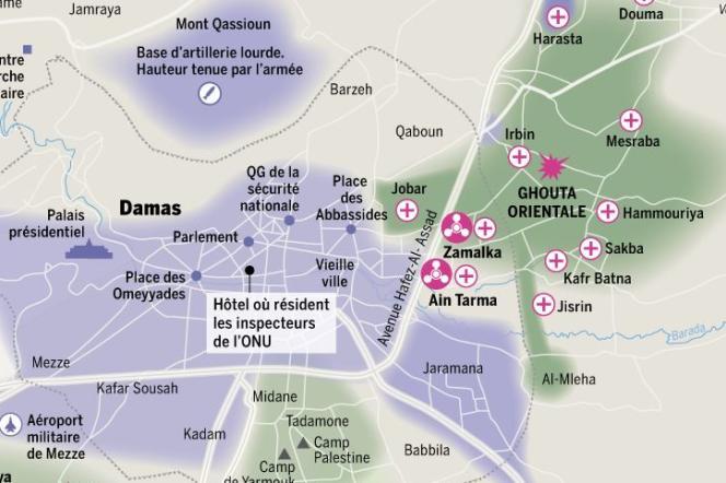 Les quartiers de la banlieue de Damas bombardés par l'armée, mercredi 21 et jeudi 22 août.