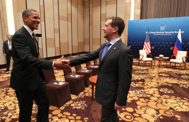 Barack Obama et Dimitri Medvedev à Séoul, le 26 mars 2012.
