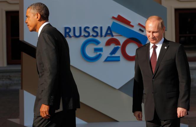 Barack Obama est accueilli par son homologue russe Vladimir Poutine à Saint-Pétersbourg, le 5 septembre 2013.