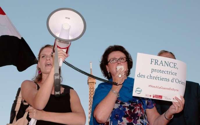 Christine Boutin au cours d'un rassemblement contre d'éventuelles frappes sur la Syrie, le 3 septembre.