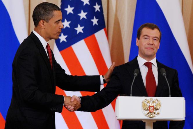 Dimitri Medvedev et Barack Obama lors d'une rencontre bilatérale à Moscou, le 6 juillet 2009.