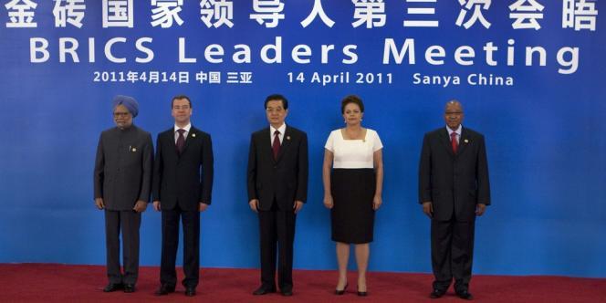 Les dirigeants indien, russe, chinois, brésilien et sud-africain lors d'un précédent sommet des Brics, le 14 avril 2011 à Sanya, en Chine.