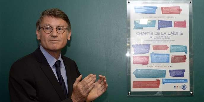 Vincent Peillon, lors de l'installation de la charte de la laïcité dans un lycée de Seine-et-Marne, le 9 septembre.